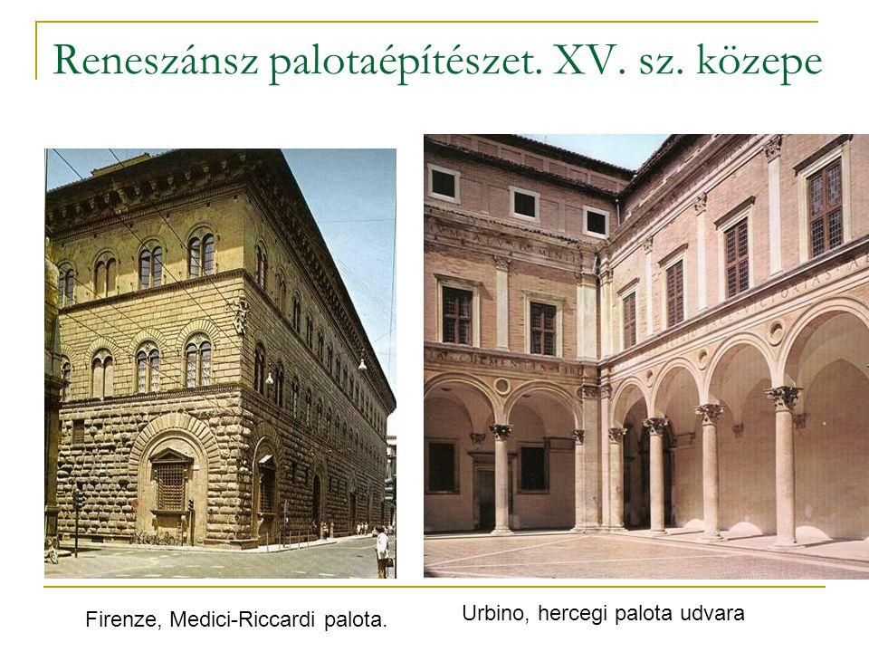 Reneszánsz palotaépítészet. XV. sz. közepe Firenze, Medici-Riccardi palota. Urbino, hercegi palota udvara