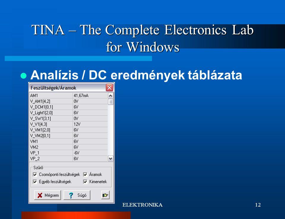 ELEKTRONIKA12 TINA – The Complete Electronics Lab for Windows Analízis / DC eredmények táblázata