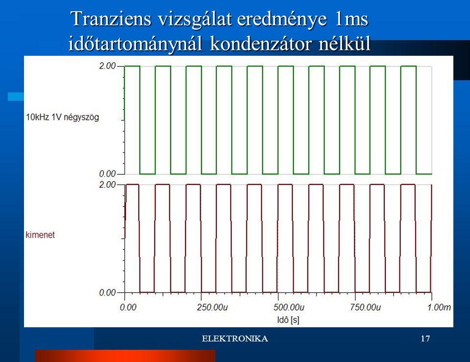 ELEKTRONIKA17 Tranziens vizsgálat eredménye 1ms időtartománynál kondenzátor nélkül