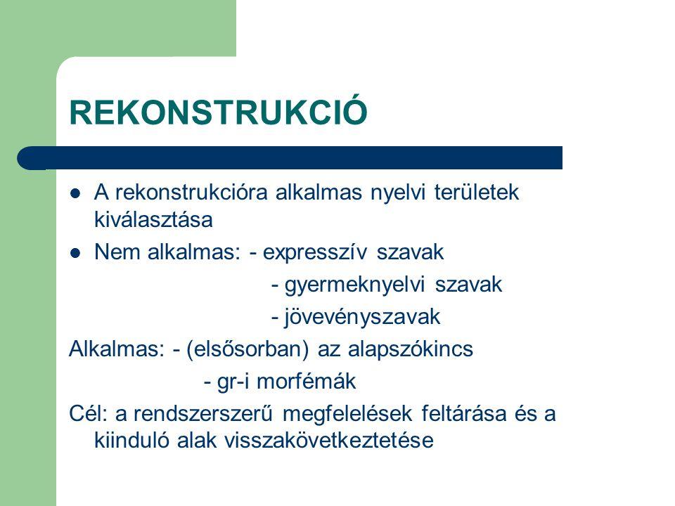 REKONSTRUKCIÓ A rekonstrukcióra alkalmas nyelvi területek kiválasztása Nem alkalmas: - expresszív szavak - gyermeknyelvi szavak - jövevényszavak Alkal