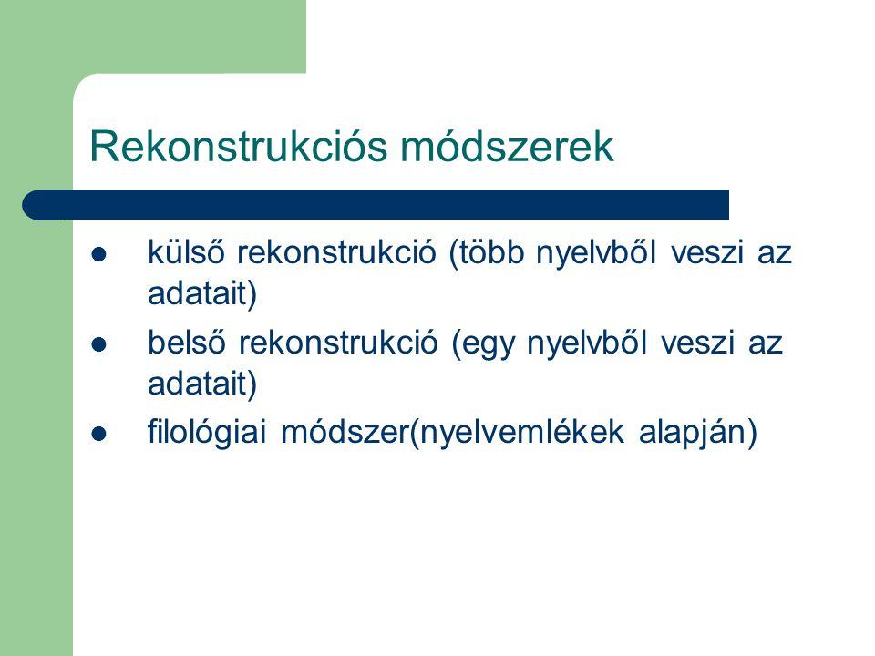 Rekonstrukciós módszerek külső rekonstrukció (több nyelvből veszi az adatait) belső rekonstrukció (egy nyelvből veszi az adatait) filológiai módszer(n