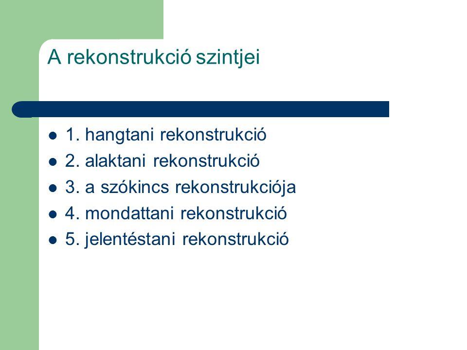 A rekonstrukció szintjei 1. hangtani rekonstrukció 2. alaktani rekonstrukció 3. a szókincs rekonstrukciója 4. mondattani rekonstrukció 5. jelentéstani