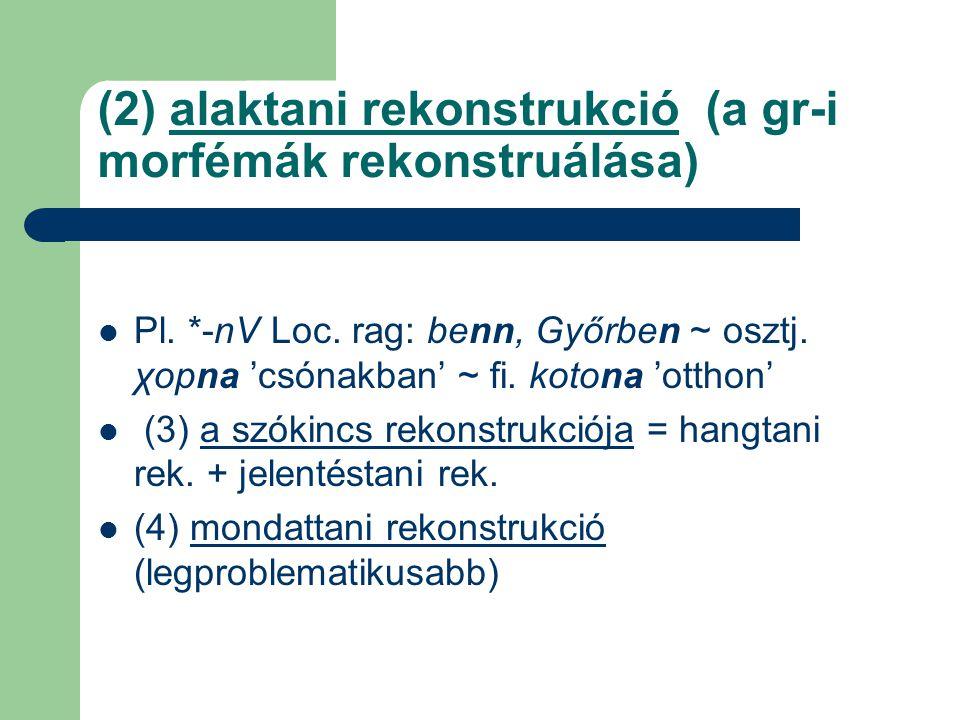 (2) alaktani rekonstrukció (a gr-i morfémák rekonstruálása) Pl. *-nV Loc. rag: benn, Győrben ~ osztj. χopna 'csónakban' ~ fi. kotona 'otthon' (3) a sz