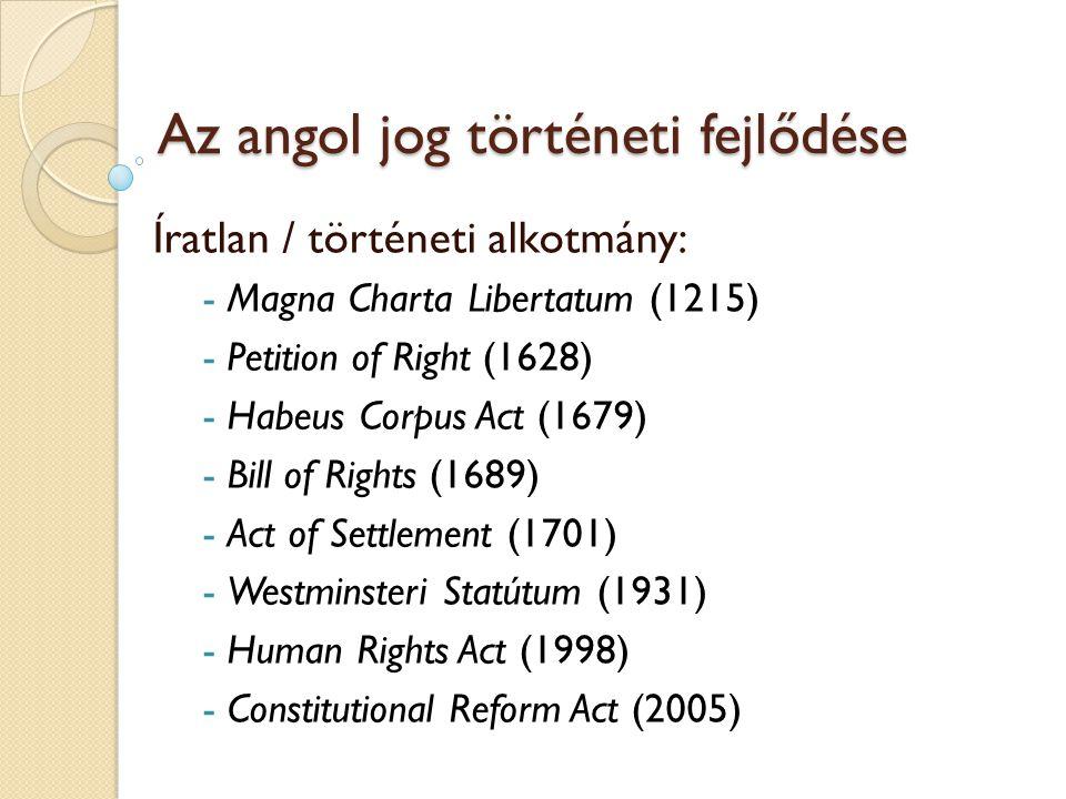 Az angol jog történeti fejlődése Íratlan / történeti alkotmány: - Magna Charta Libertatum (1215) - Petition of Right (1628) - Habeus Corpus Act (1679)