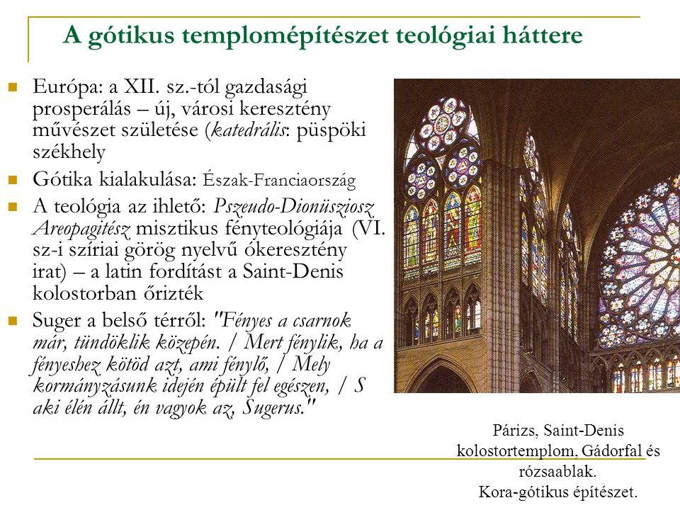 A gótikus templomépítészet teológiai háttere Európa: a XII. sz.-tól gazdasági prosperálás – új, városi keresztény művészet születése (katedrális: püsp