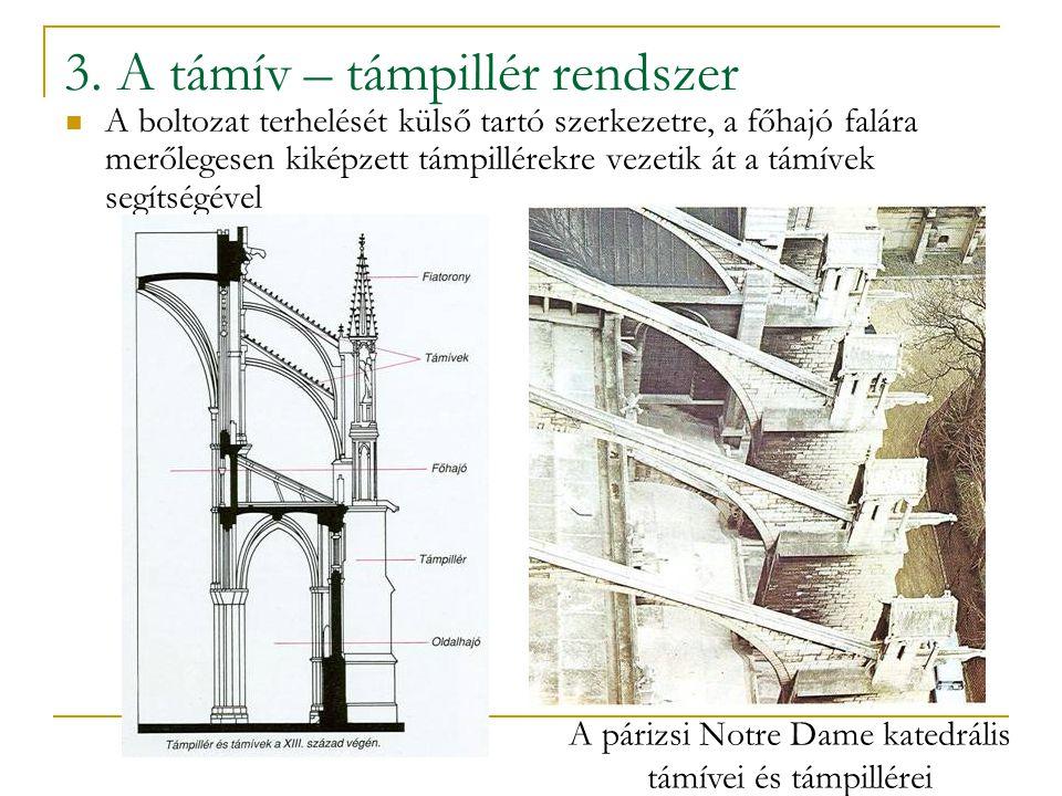 3. A támív – támpillér rendszer A boltozat terhelését külső tartó szerkezetre, a főhajó falára merőlegesen kiképzett támpillérekre vezetik át a támíve