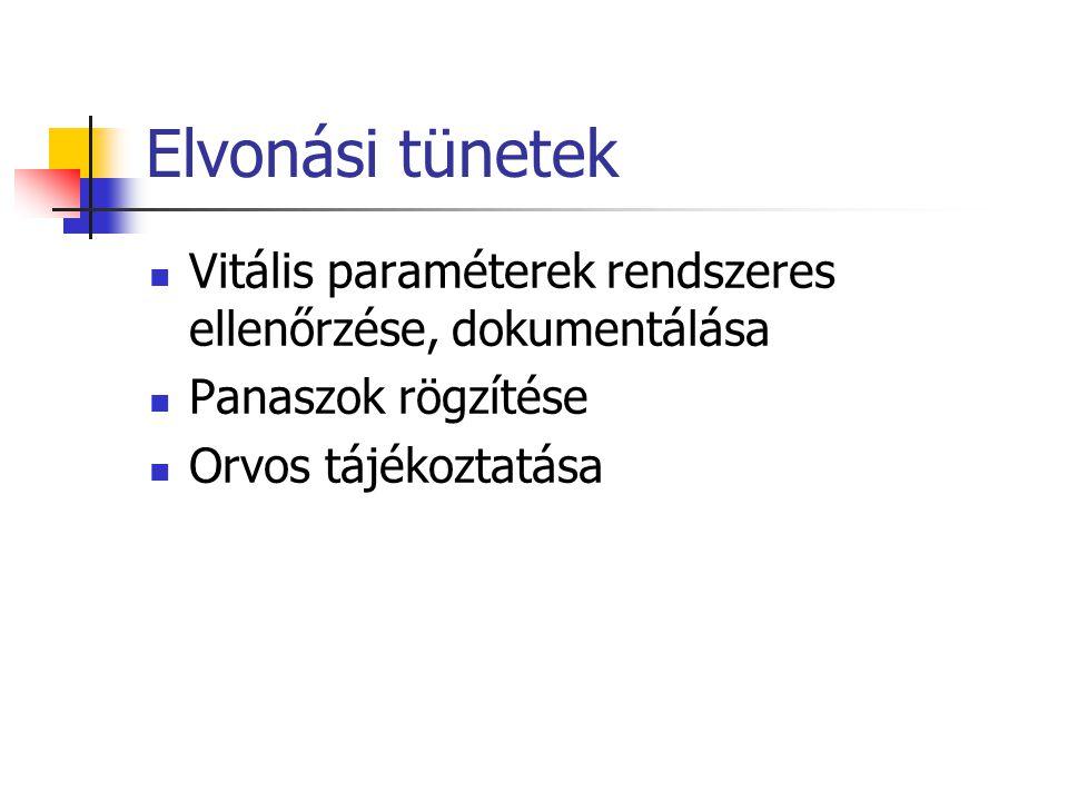 Elvonási tünetek Vitális paraméterek rendszeres ellenőrzése, dokumentálása Panaszok rögzítése Orvos tájékoztatása