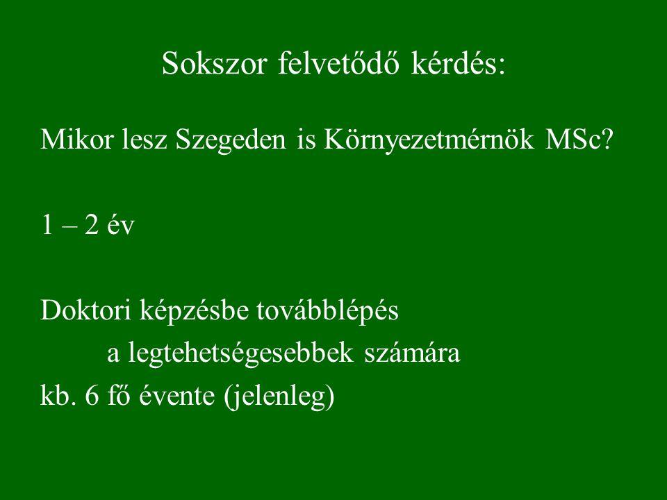 Sokszor felvetődő kérdés: Mikor lesz Szegeden is Környezetmérnök MSc.