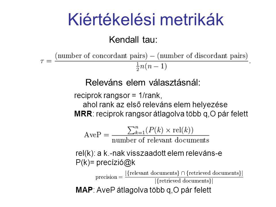 Kiértékelési metrikák Kendall tau: Releváns elem választásnál: rel(k): a k.-nak visszaadott elem releváns-e P(k)= precízió@k MAP: AveP átlagolva több