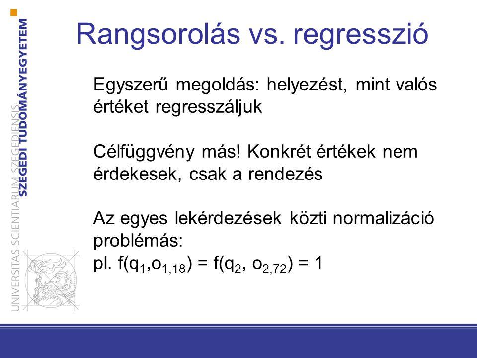 Rangsorolás vs. regresszió Egyszerű megoldás: helyezést, mint valós értéket regresszáljuk Célfüggvény más! Konkrét értékek nem érdekesek, csak a rende