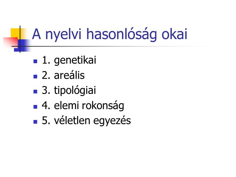 A nyelvi hasonlóság okai 1. genetikai 2. areális 3. tipológiai 4. elemi rokonság 5. véletlen egyezés