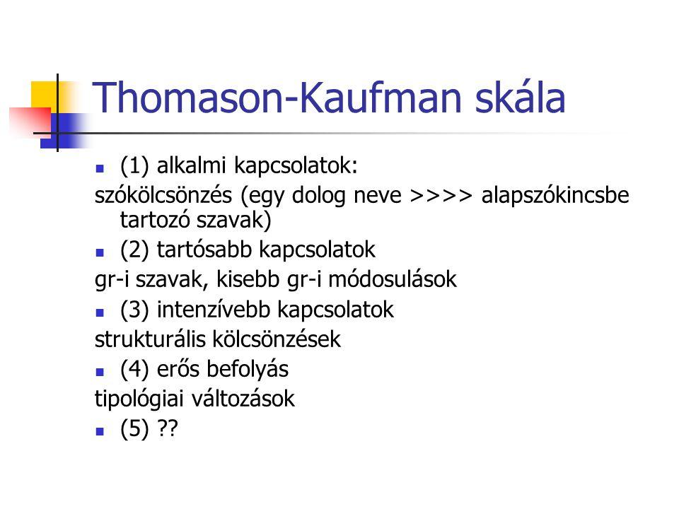 Thomason-Kaufman skála (1) alkalmi kapcsolatok: szókölcsönzés (egy dolog neve >>>> alapszókincsbe tartozó szavak) (2) tartósabb kapcsolatok gr-i szava