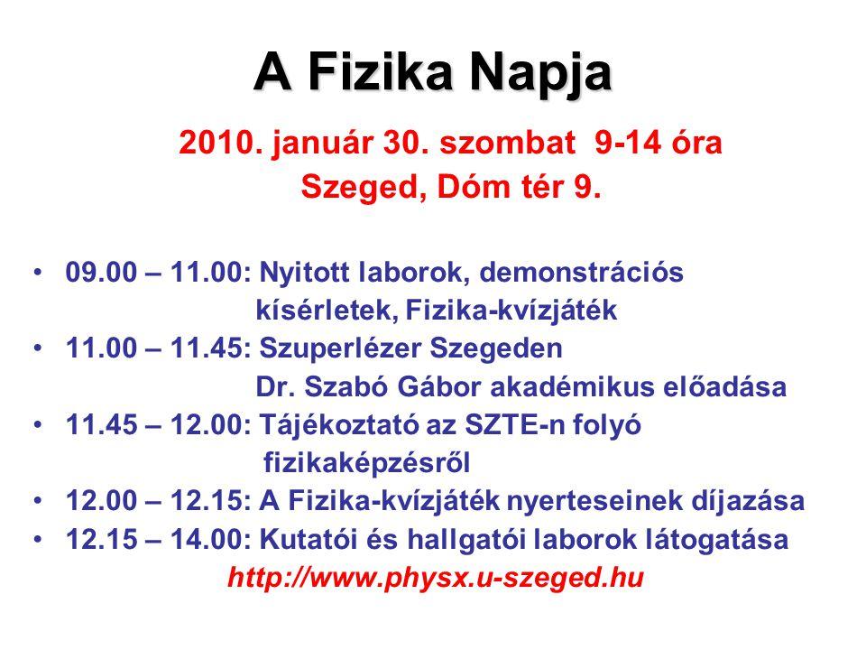 A Fizika Napja 2010.január 30. szombat 9-14 óra Szeged, Dóm tér 9.