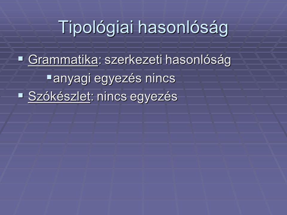Tipológiai hasonlóság  Grammatika: szerkezeti hasonlóság  anyagi egyezés nincs  Szókészlet: nincs egyezés