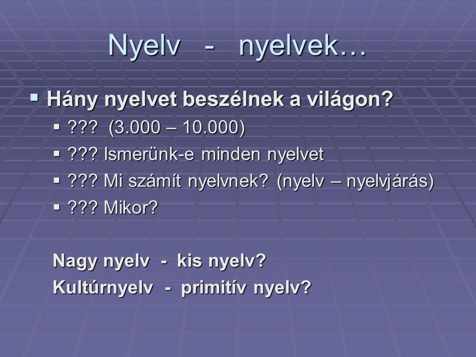 Nyelv - nyelvek…  Hány nyelvet beszélnek a világon.