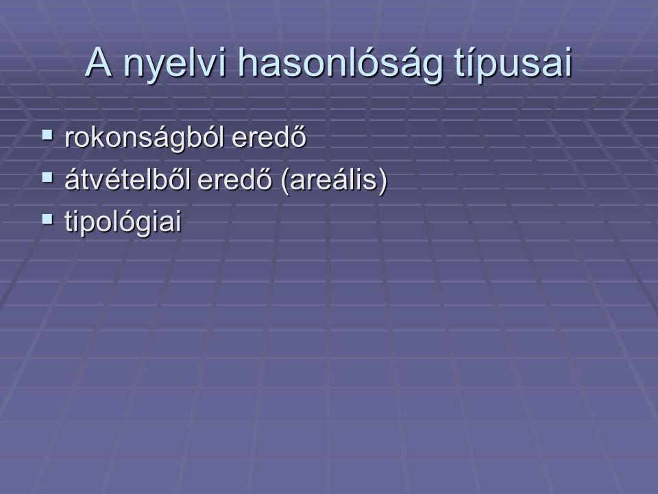 A nyelvi hasonlóság típusai  rokonságból eredő  átvételből eredő (areális)  tipológiai