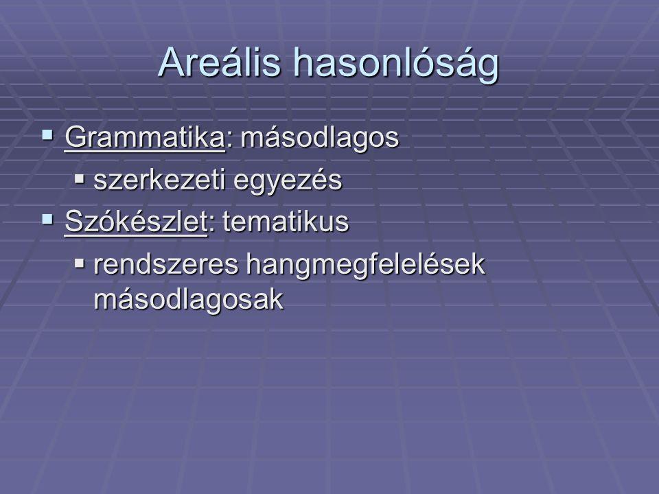 Areális hasonlóság  Grammatika: másodlagos  szerkezeti egyezés  Szókészlet: tematikus  rendszeres hangmegfelelések másodlagosak