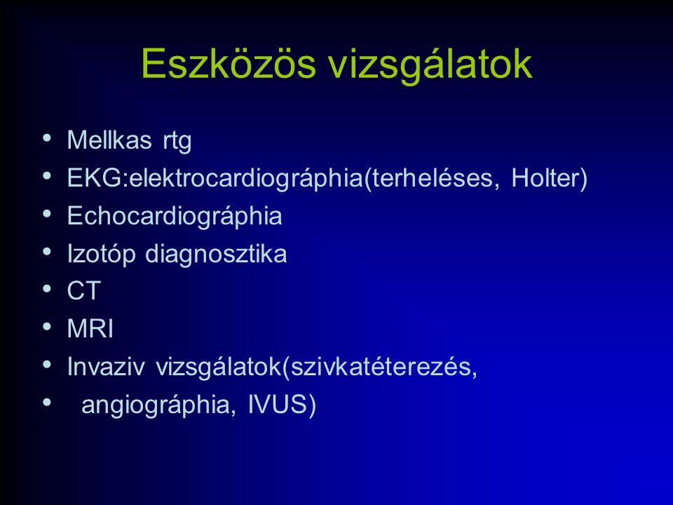 Eszközös vizsgálatok Mellkas rtg EKG:elektrocardiográphia(terheléses, Holter) Echocardiográphia Izotóp diagnosztika CT MRI Invaziv vizsgálatok(szivkat