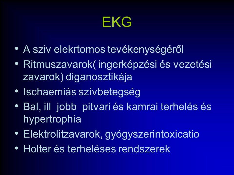 EKG A sziv elekrtomos tevékenységéről Ritmuszavarok( ingerképzési és vezetési zavarok) diganosztikája Ischaemiás szívbetegség Bal, ill jobb pitvari és