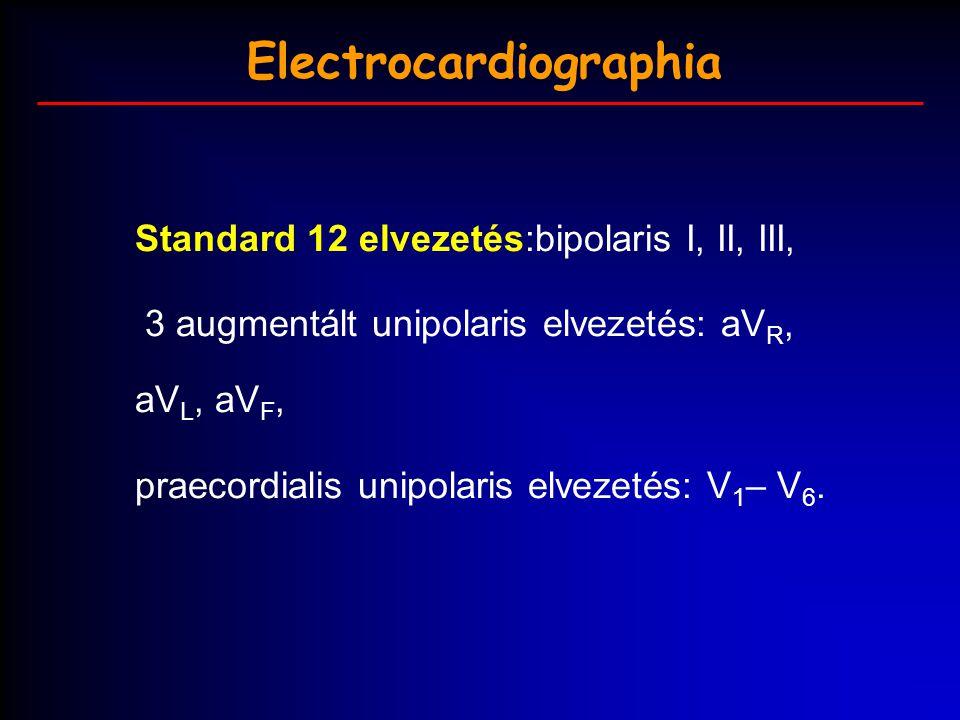Electrocardiographia Standard 12 elvezetés:bipolaris I, II, III, 3 augmentált unipolaris elvezetés: aV R, aV L, aV F, praecordialis unipolaris elvezet
