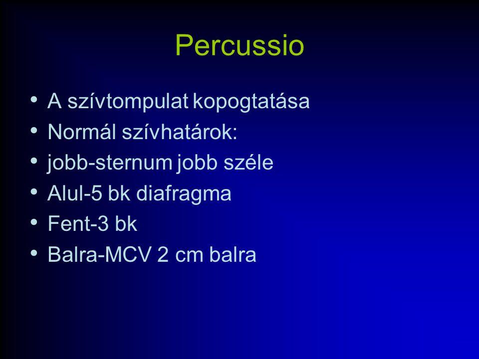 Percussio A szívtompulat kopogtatása Normál szívhatárok: jobb-sternum jobb széle Alul-5 bk diafragma Fent-3 bk Balra-MCV 2 cm balra