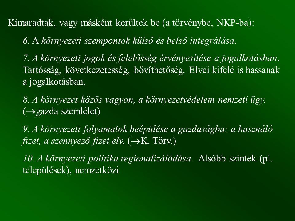 Kimaradtak, vagy másként kerültek be (a törvénybe, NKP-ba): 6.