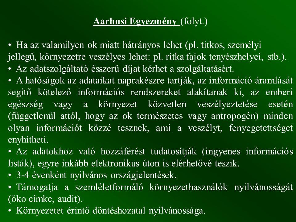 Aarhusi Egyezmény (folyt.) Ha az valamilyen ok miatt hátrányos lehet (pl.