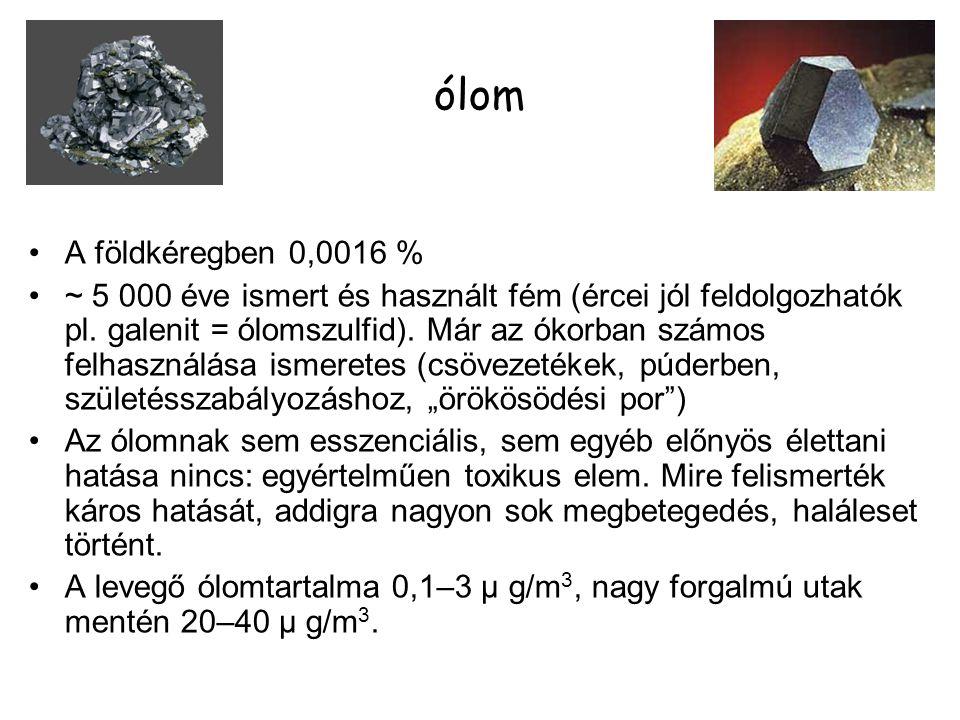ólom A földkéregben 0,0016 % ~ 5 000 éve ismert és használt fém (ércei jól feldolgozhatók pl. galenit = ólomszulfid). Már az ókorban számos felhasznál