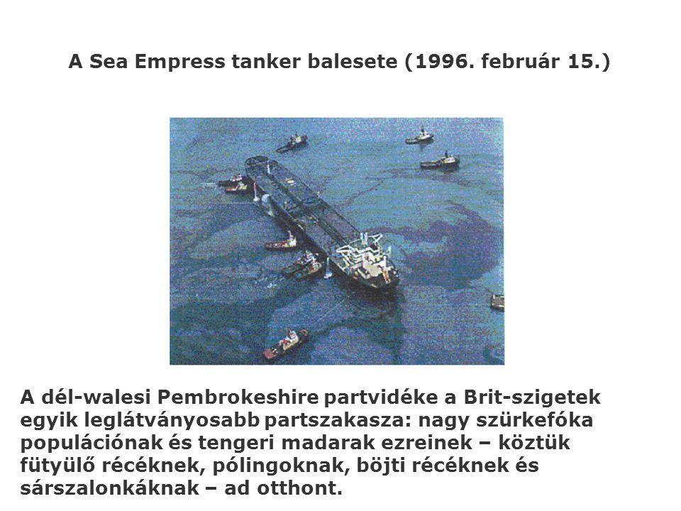 A Sea Empress tanker balesete (1996. február 15.) A dél-walesi Pembrokeshire partvidéke a Brit-szigetek egyik leglátványosabb partszakasza: nagy szürk