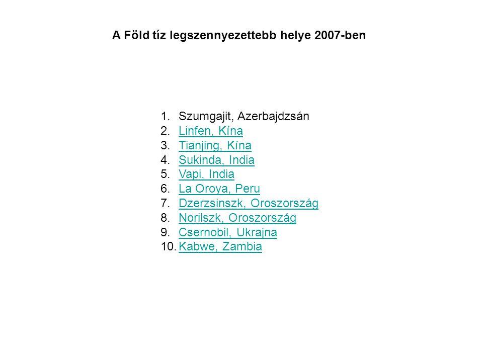 1.Szumgajit, Azerbajdzsán 2.Linfen, KínaLinfen, Kína 3.Tianjing, KínaTianjing, Kína 4.Sukinda, IndiaSukinda, India 5.Vapi, IndiaVapi, India 6.La Oroya