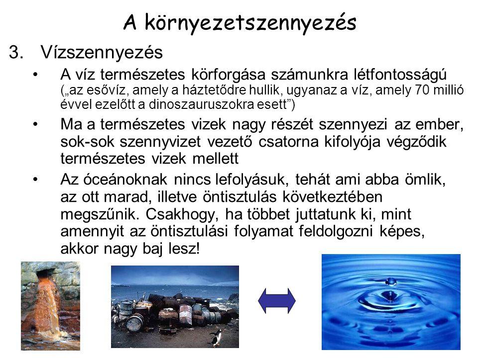 """3.Vízszennyezés A víz természetes körforgása számunkra létfontosságú (""""az esővíz, amely a háztetődre hullik, ugyanaz a víz, amely 70 millió évvel ezel"""