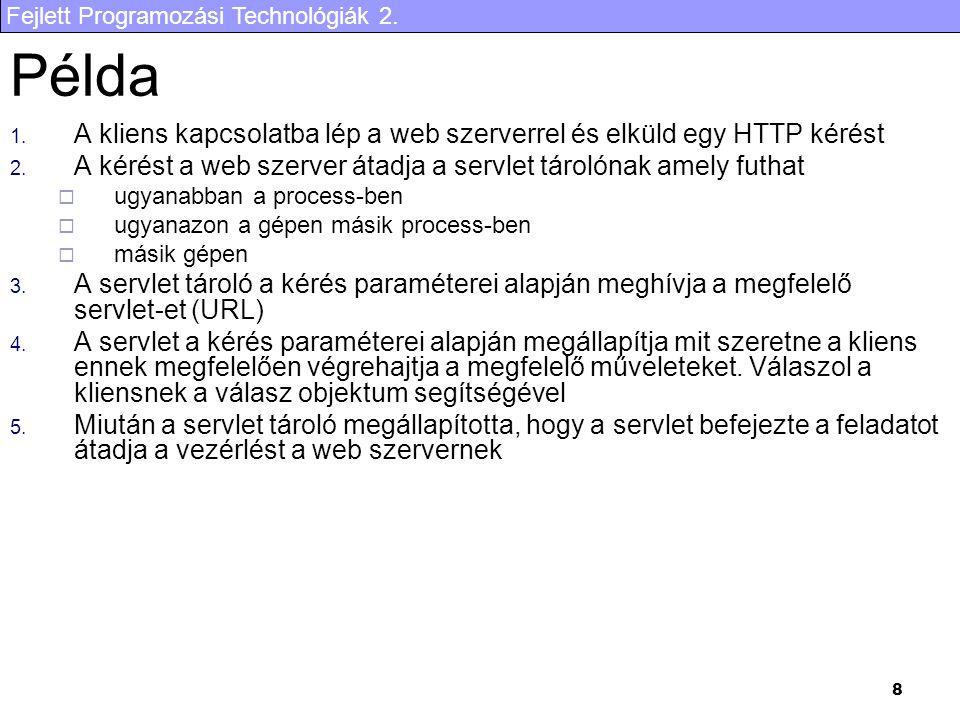 Fejlett Programozási Technológiák 2. 29 Példa alkalmazás