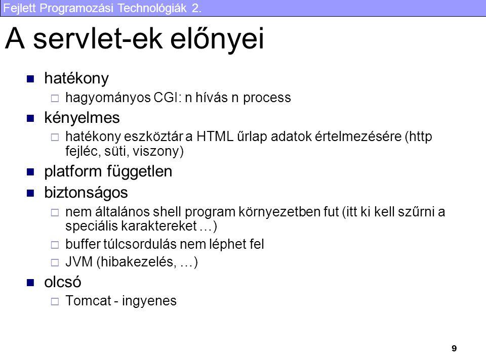 Fejlett Programozási Technológiák 2. 30 Eredmény