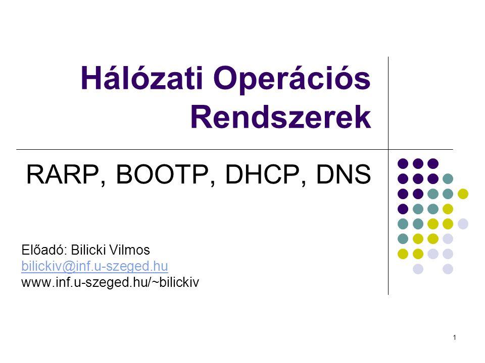 1 Hálózati Operációs Rendszerek RARP, BOOTP, DHCP, DNS Előadó: Bilicki Vilmos bilickiv@inf.u-szeged.hu www.inf.u-szeged.hu/~bilickiv