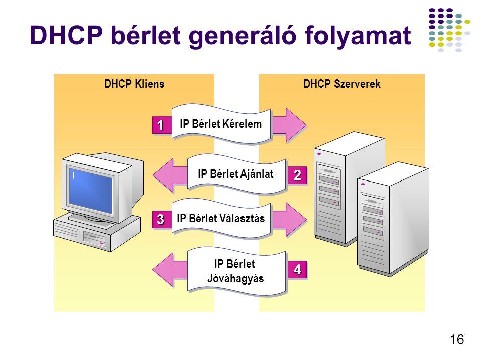 16 DHCP bérlet generáló folyamat DHCP SzerverekDHCP Kliens 11 IP Bérlet Kérelem 33 IP Bérlet Választás 22 IP Bérlet Ajánlat 44 IP Bérlet Jóváhagyás