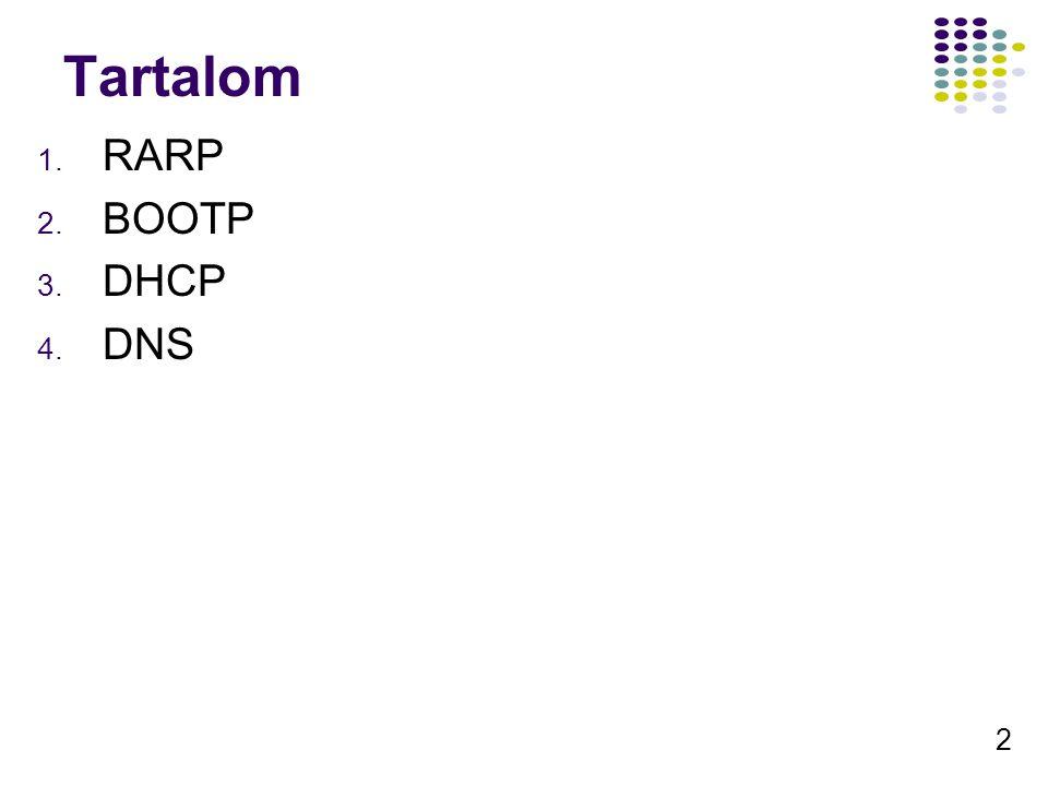 43 Fontosabb bejegyzések A – Host rekord (név -> IP hozzárendelés) NS – Name Server (DNS szerver) CNAME – Canonical Name (további nevek) MX – Mail Exchange (Levelező szerver) SOA – Start Of Authority (A Zóna kezdetét jelzi) PTR – Pointer (IP -> név) SRV – Service (szolgáltatás)