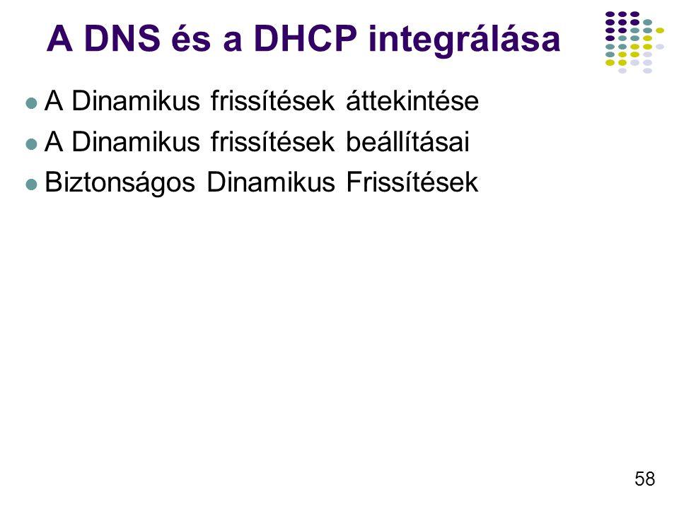 58 A DNS és a DHCP integrálása A Dinamikus frissítések áttekintése A Dinamikus frissítések beállításai Biztonságos Dinamikus Frissítések