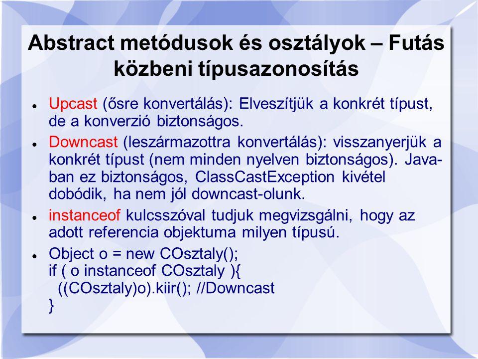 Upcast (ősre konvertálás): Elveszítjük a konkrét típust, de a konverzió biztonságos.