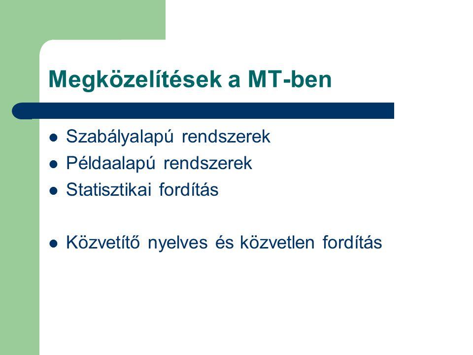 Megközelítések a MT-ben Szabályalapú rendszerek Példaalapú rendszerek Statisztikai fordítás Közvetítő nyelves és közvetlen fordítás