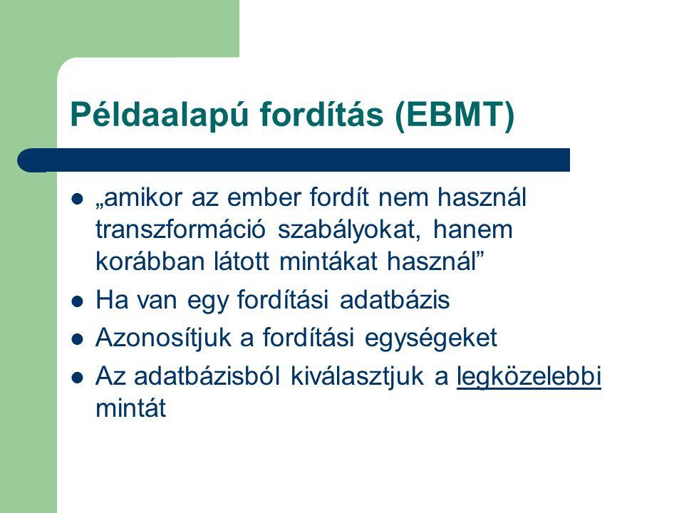 """Példaalapú fordítás (EBMT) """"amikor az ember fordít nem használ transzformáció szabályokat, hanem korábban látott mintákat használ"""" Ha van egy fordítás"""