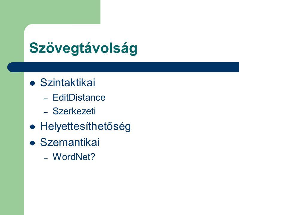 Szövegtávolság Szintaktikai – EditDistance – Szerkezeti Helyettesíthetőség Szemantikai – WordNet?