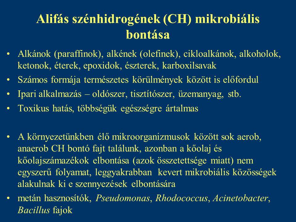 Alifás szénhidrogének (CH) mikrobiális bontása Alkánok (paraffinok), alkének (olefinek), cikloalkánok, alkoholok, ketonok, éterek, epoxidok, észterek,