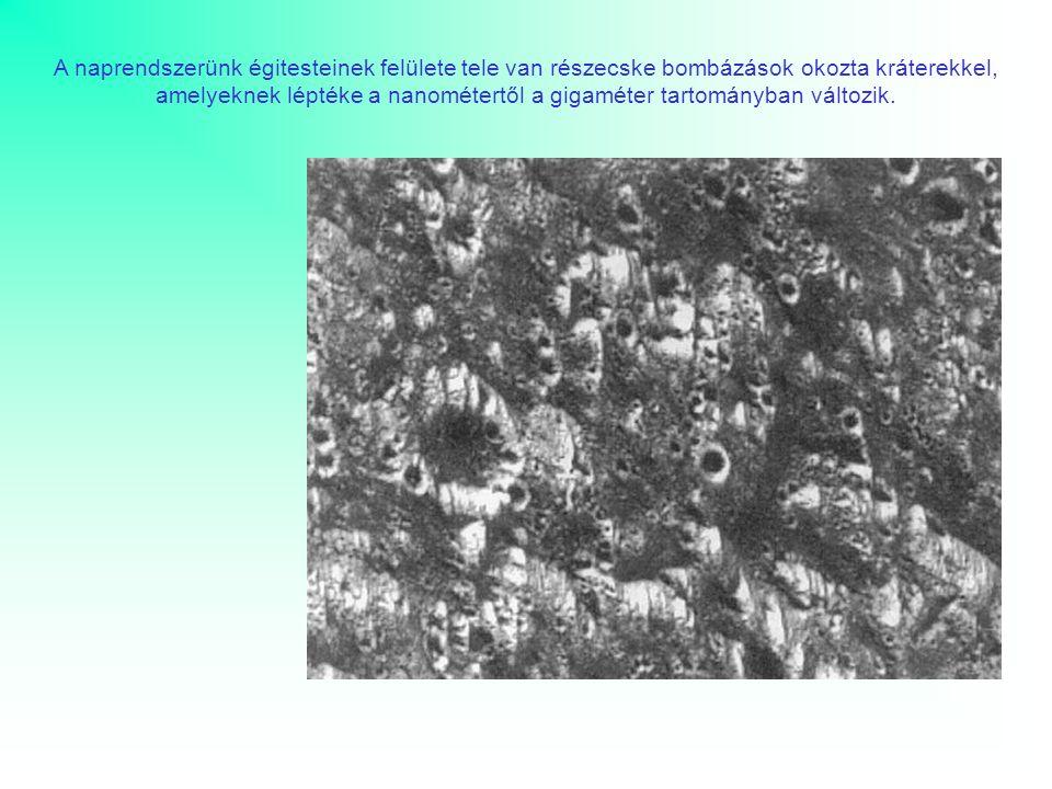 A naprendszerünk égitesteinek felülete tele van részecske bombázások okozta kráterekkel, amelyeknek léptéke a nanométertől a gigaméter tartományban változik.