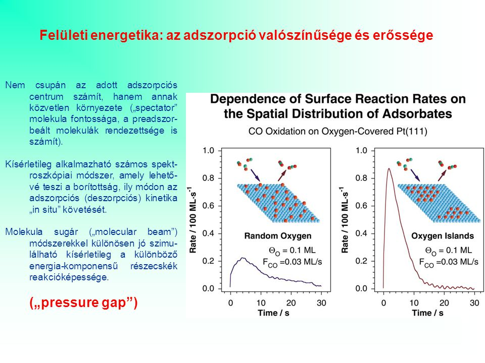 """Felületi energetika: az adszorpció valószínűsége és erőssége Nem csupán az adott adszorpciós centrum számít, hanem annak közvetlen környezete (""""spectator molekula fontossága, a preadszor- beált molekulák rendezettsége is számít)."""