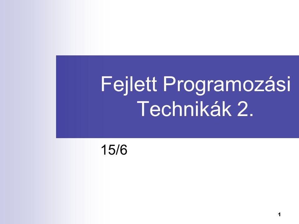 Fejlett Programozási Technológiák 2.2 Közhírré tétetik Március 10.-én 14.00-tól TIK I.