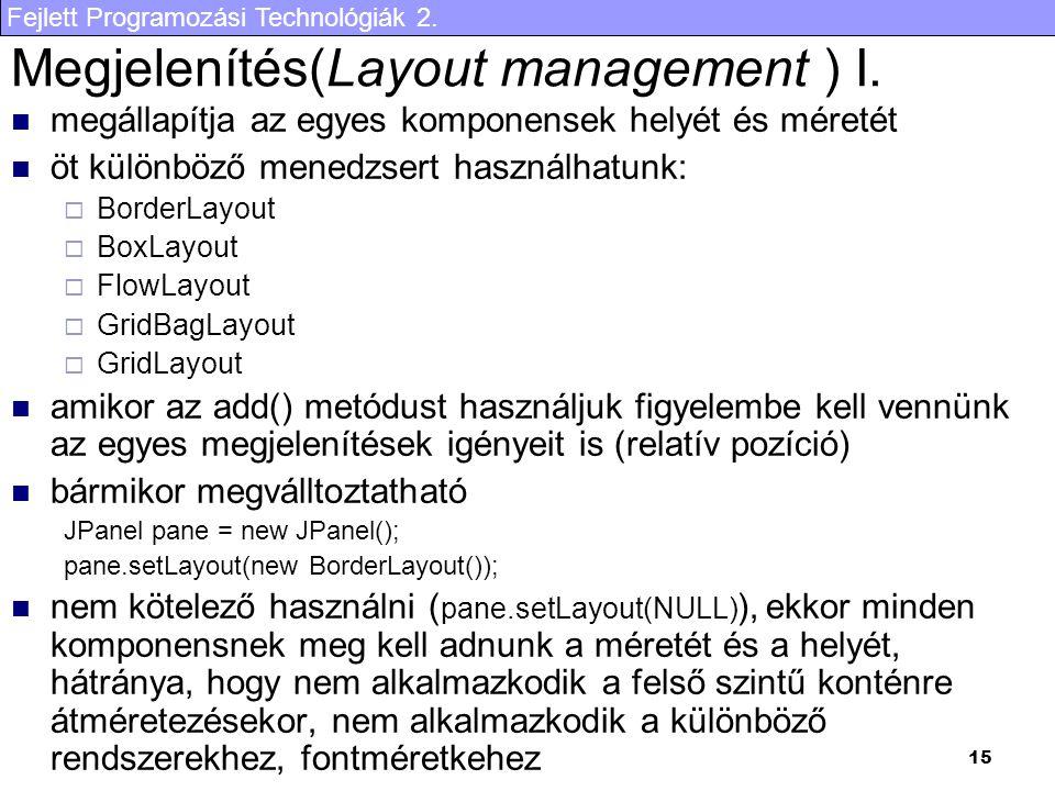 Fejlett Programozási Technológiák 2. 15 Megjelenítés(Layout management ) I. megállapítja az egyes komponensek helyét és méretét öt különböző menedzser
