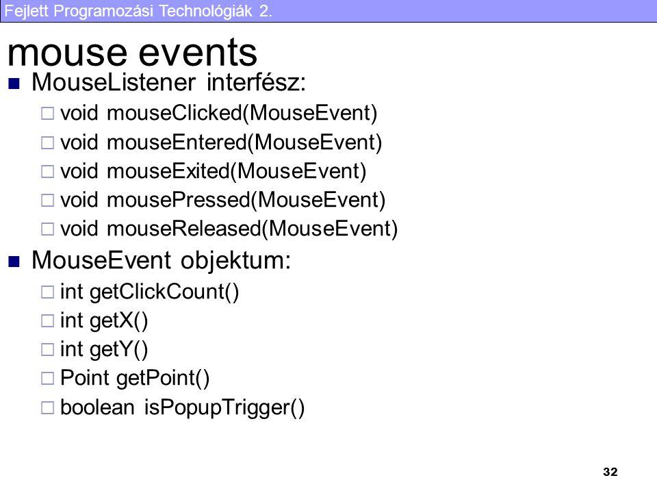 Fejlett Programozási Technológiák 2. 32 mouse events MouseListener interfész:  void mouseClicked(MouseEvent)  void mouseEntered(MouseEvent)  void m