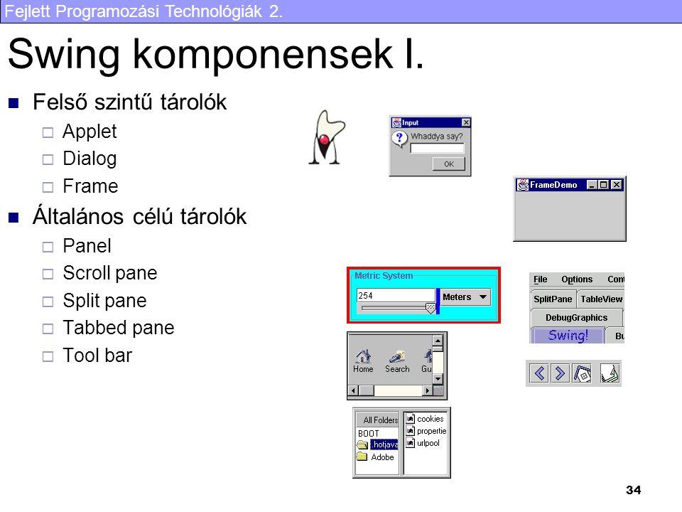 Fejlett Programozási Technológiák 2. 34 Swing komponensek I. Felső szintű tárolók  Applet  Dialog  Frame Általános célú tárolók  Panel  Scroll pa
