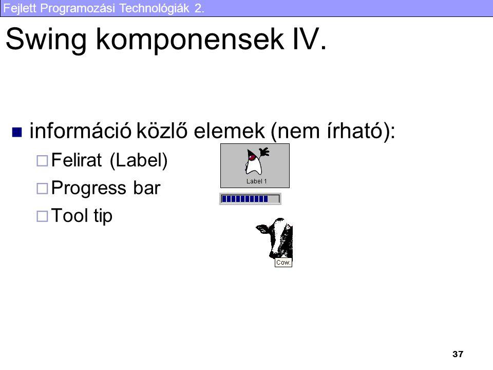 Fejlett Programozási Technológiák 2. 37 Swing komponensek IV.