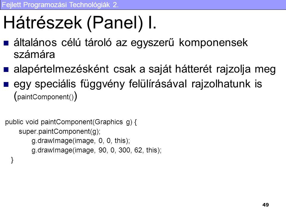 Fejlett Programozási Technológiák 2. 49 Hátrészek (Panel) I. általános célú tároló az egyszerű komponensek számára alapértelmezésként csak a saját hát